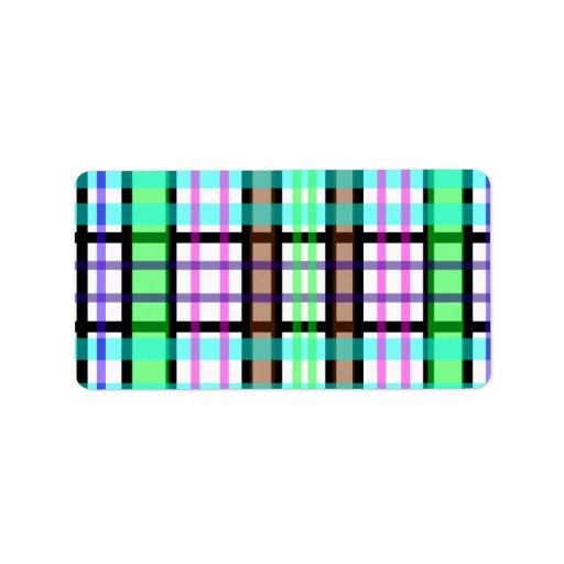 Tela escocesa azul y rosada verde clara moderna etiqueta de dirección