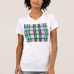 Tela escocesa azul y rosada verde clara moderna camiseta