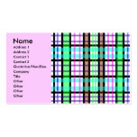 Tela escocesa azul y rosada verde clara moderna tarjetas de visita