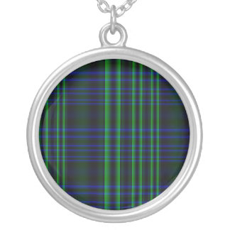 Tela escocesa azul y verde comprobada colgante redondo