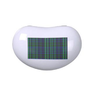 Tela escocesa azul y verde comprobada frascos de caramelos