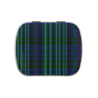 Tela escocesa azul y verde comprobada latas de caramelos