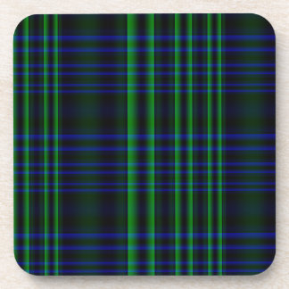 Tela escocesa azul y verde comprobada posavasos para bebidas