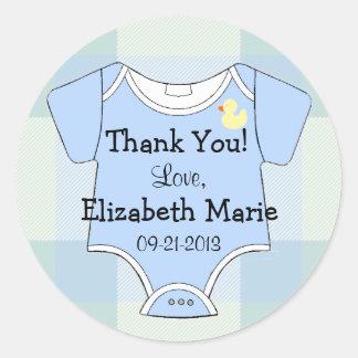 Tela escocesa azulverde - equipo del bebé pegatina redonda