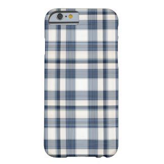 Tela escocesa blanca azul 1 funda de iPhone 6 barely there