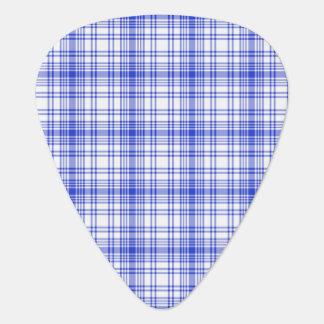 Tela escocesa blanca azul 2 púa de guitarra