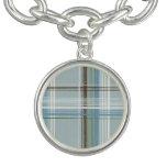 Tela escocesa blanca y azul clara de Brown Pulsera