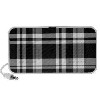 Tela escocesa blanco y negro portátil altavoces