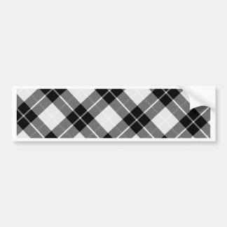 Tela escocesa blanco y negro etiqueta de parachoque