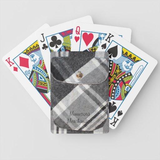Tela escocesa blanco y negro cartas de juego