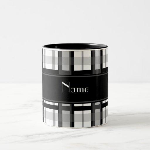 Tela escocesa blanco y negro conocida personalizad taza