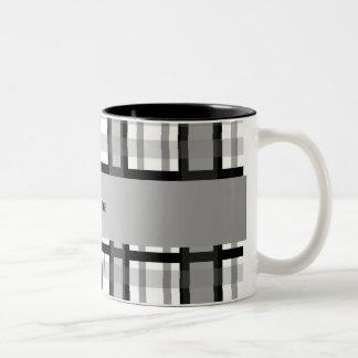 Tela escocesa blanco y negro conocida personalizad tazas de café