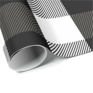 Tela escocesa blanco y negro del leñador papel de regalo