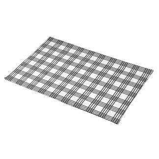 Tela escocesa blanco y negro moderna de 4 rayas manteles