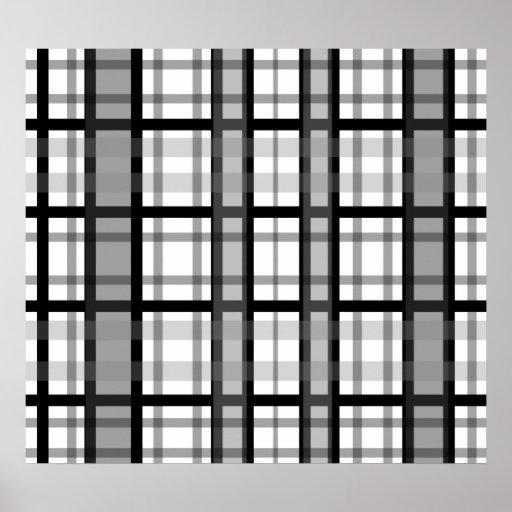 Tela escocesa blanco y negro moderna impresiones