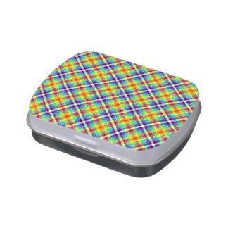 Tela escocesa brillante de la guinga del arco iris latas de caramelos