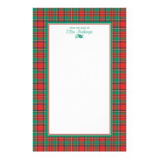 Tela escocesa clásica del navidad personalizada  papeleria de diseño
