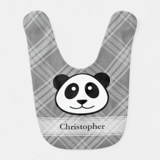 Tela escocesa con la cara de la panda babero para bebé