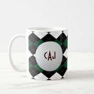Tela escocesa con la pelota de golf taza de café