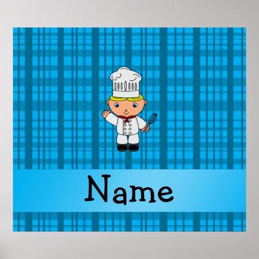Tela escocesa conocida personalizada del azul del  posters