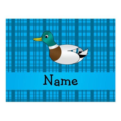 Tela escocesa conocida personalizada del azul del  tarjeta postal