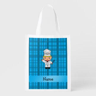 Tela escocesa conocida personalizada del azul del bolsas de la compra