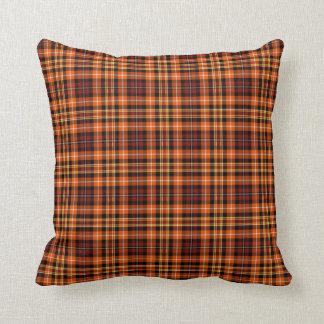 Tela escocesa de Brown, anaranjada y amarilla Cojín