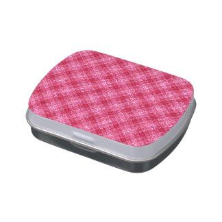 Tela escocesa de color rosa oscuro reluciente de jarrones de caramelos