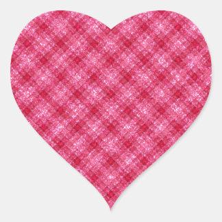 Tela escocesa de color rosa oscuro reluciente de pegatina en forma de corazón