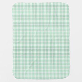 Tela escocesa de la guinga de la verde menta mantas de bebé