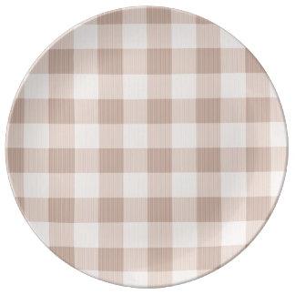 Tela escocesa de la guinga del moreno platos de cerámica