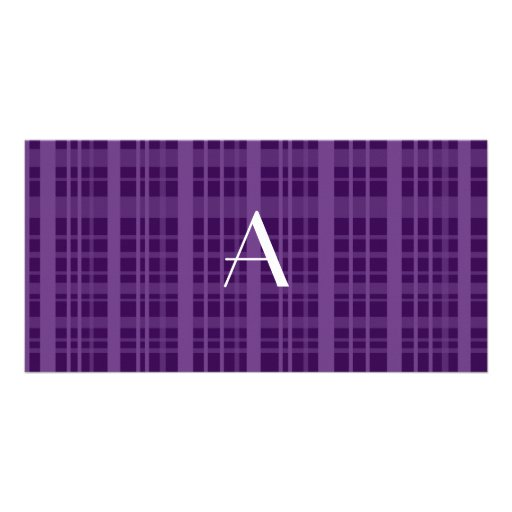 Tela escocesa de la púrpura del monograma tarjetas fotograficas