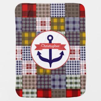 Tela escocesa de Madras + Manta personalizada Manta De Bebé