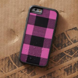 Tela escocesa de moda púrpura y negra rosácea funda de iPhone 6 tough xtreme