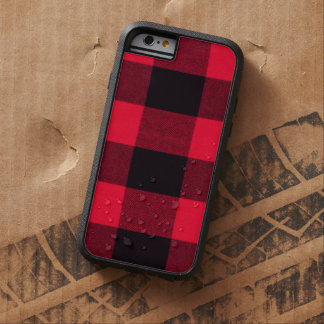 Tela escocesa de moda roja y negra del búfalo funda de iPhone 6 tough xtreme