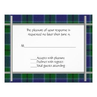 Tela escocesa de Scott que casa la tarjeta de RSVP Invitacion Personal