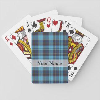 Tela escocesa de tartán azul cartas de póquer