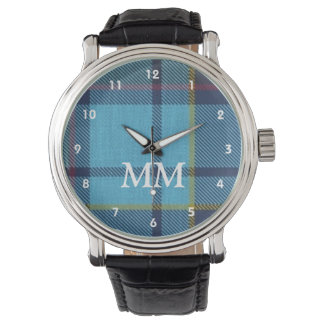 Tela escocesa de tartán azul con monograma relojes de pulsera