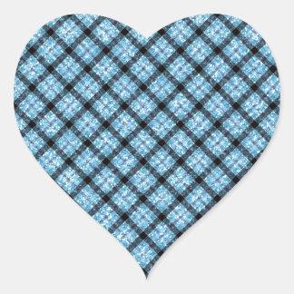 Tela escocesa de tartán azul del efecto del brillo pegatina en forma de corazón