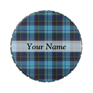 Tela escocesa de tartán azul latas de dulces