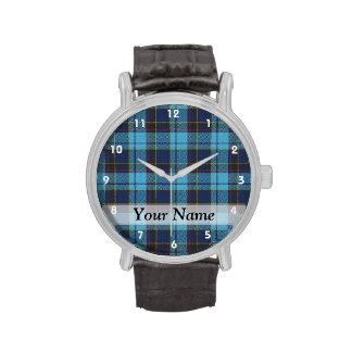 Tela escocesa de tartán azul reloj de mano