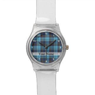 Tela escocesa de tartán azul relojes de mano