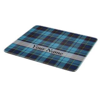 Tela escocesa de tartán azul tabla de cortar