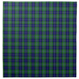 Tela escocesa de tartán azul y verde elegante de D Servilletas De Papel
