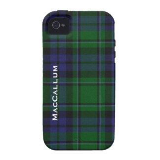 Tela escocesa de tartán azul y verde elegante de M iPhone 4/4S Carcasas