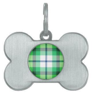 Tela escocesa de tartán blanca verde placa mascota