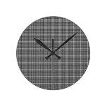 Tela escocesa de tartán blanco y negro de Houndsto Reloj De Pared