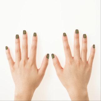 Tela escocesa de tartán del verde verde oliva Mani Stickers Para Uñas