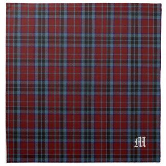 Tela escocesa de tartán elegante del monograma de servilleta