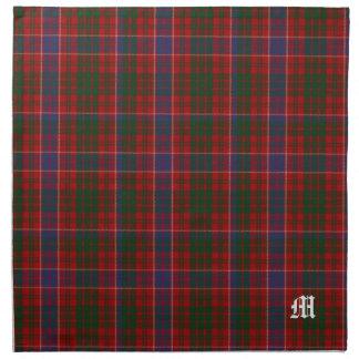 Tela escocesa de tartán elegante del monograma de  servilleta de papel
